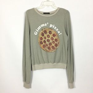 Wildfox Gimme Pizza graphic Sweatshirt size XS !K